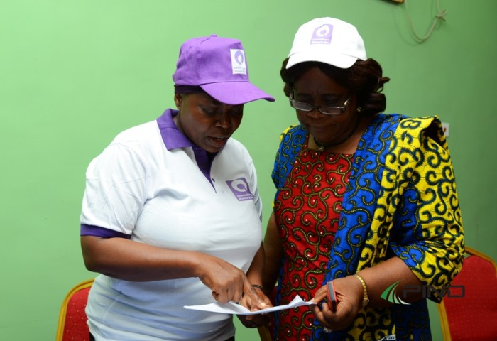 Dr. Celine Anosike, Member of Imo State Partners for Peace (right) and Bose PIND Capacity Building Program Manager (left) at the IWD Forum in Bayelsa on Wednesday, March 29