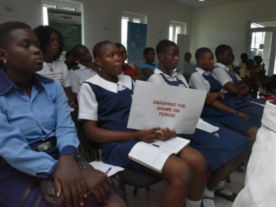 Cross section of students at the menstural hygine day event 6