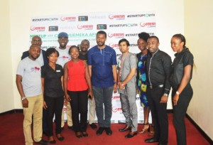 Chukwuemeka-Afigbo-with-the-Genesis-Skybar-Team-led-by-Amit-Deshpande-Head-of-Operations-Restaurants