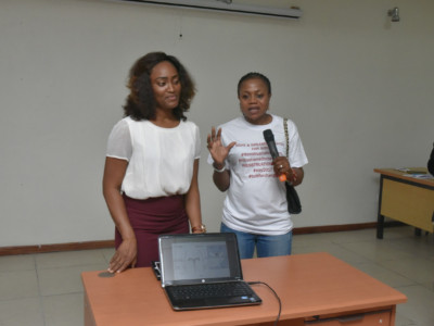 Founder of Hopes and Dreams Initiatives during discussion session with Dr Imeraye Eloho of Lily Hospital Warri
